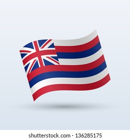 State of Hawaii flag waving form on gray background. Vector illustration.