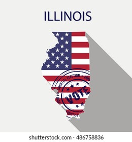State of Illinois vector graphic map with flag and presidential day vote stamp