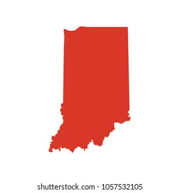State of Indiana vector map silhouette. IN state shape icon. Outline contour map of State of Indiana.
