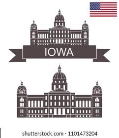 State of Iowa. Iowa state capital. EPS 10. Vector illustration