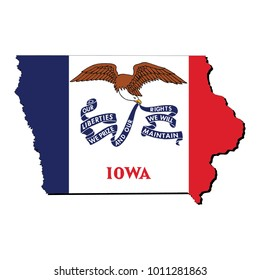 State of Iowa flag inside the map