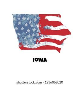 State of Iowa. United States Of America. Vector illustration. USA flag.