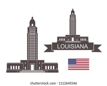 State of Louisiana. Louisiana State Capitol. EPS 10. Vector illustration
