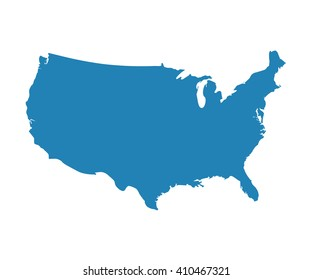 State map vector. Blank Blue similar USA map isolated on white background. United States of America country. Vector template for website, design, cover, infographics.
