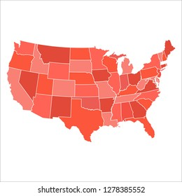 State map vector. USA map isolated on white background. United States of America country. Color of the year 2019
