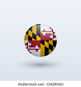 State of Maryland flag circle form on gray background. Vector illustration.