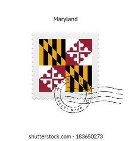 State of Maryland flag postage stamp on white background. Vector illustration.