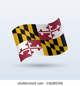 State of Maryland flag waving form on gray background. Vector illustration.