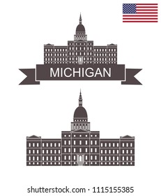 State of Michigan. Capital Building Lansing Michigan. EPS 10. Vector illustration