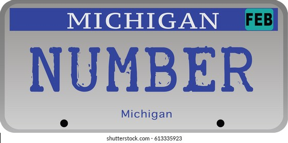 State of Michigan car registration number plates