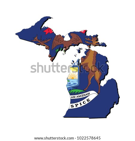 The State Of Michigan Map.State Michigan Flag Inside Map Stock Vector Royalty Free