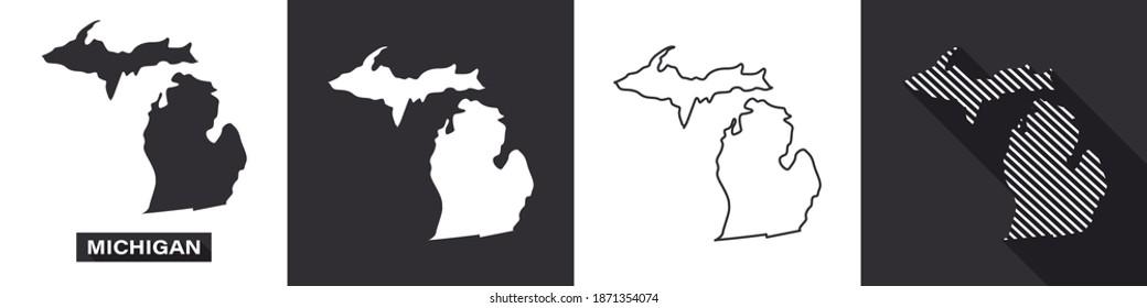 State of Michigan. Map of Michigan. United States of America Michigan. State maps. Vector illustration