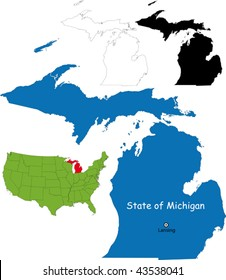 The State Of Michigan Map.Michigan Map Images Stock Photos Vectors Shutterstock