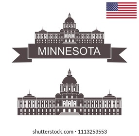 State of Minnesota. Minnesota State Capitol in St Paul. EPS 10. Vector illustration