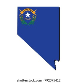 State of Nevada flag inside the map