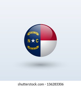 State of North Carolina flag circle form on gray background. Vector illustration.