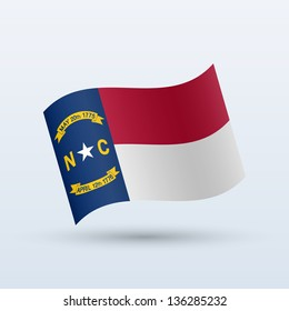 State of North Carolina flag waving form on gray background. Vector illustration.
