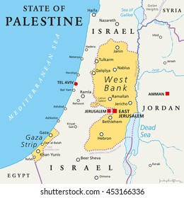 State of Palestine with designated capital East Jerusalem, claiming West Bank and Gaza Strip. Political map with borders and important places. Most areas are occupied by Israel. English labeling.