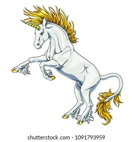 The state proud white colorful unicorn with blue eyes and gold hair who got on hind legs on white background isolated. Magical horse animal. The cartoon vector manual illustration.