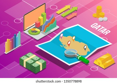 state of qatar isometric business economy growth country with map and finance condition - vector