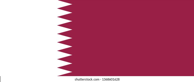 State of Qatar official national flag sign icon flat vector