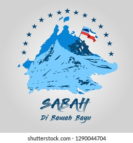 "the state of Sabah Map with the group of people climbing mountain holding the flag. Translation  : ""Sabah state land below the wind"""