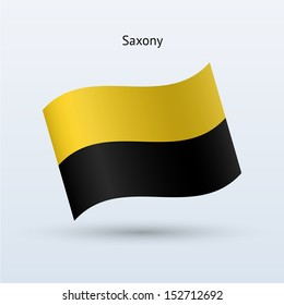 State of Saxony flag waving form on gray background. Vector illustration.