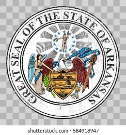 badge us state seal arkansas 3 d stock illustration 612976355