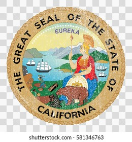 state seal of the USA state of California. Coat of arms in grunge style. Stamps Collection, vector distress textures. blank shapes.