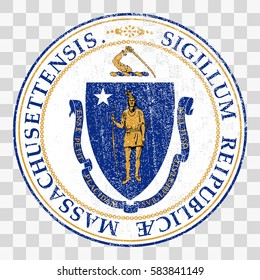 state seal of the USA state of Massachusetts. Coat of arms in grunge style, Stamps Collection, vector distress textures. blank shapes.