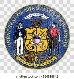 state seal of the USA state of Wisconsin. Coat of arms in grunge style, Stamp, vector distress textures. blank shapes.