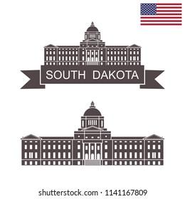 State of South Dakota. South Dakota State Capitol building. EPS 10. Vector illustration