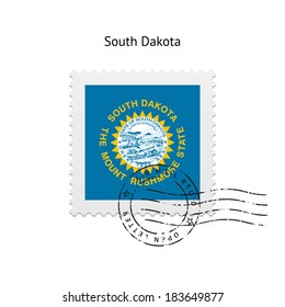 State of South Dakota flag postage stamp on white background. Vector illustration.