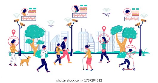 State surveillance, vector flat illustration. People walking along the street with installed cctv cameras. Video surveillance, public security, facial recognition cctv technology.