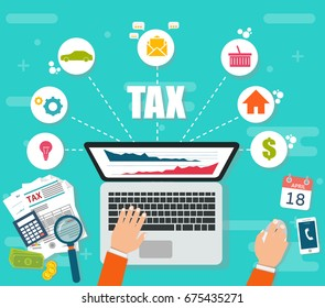 State taxes. Tax payment. Government taxes. Data analysis, paperwork, financial research, report. Businessman calculation tax. Calculation of tax return. Flat design
