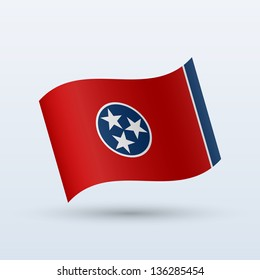 State of Tennessee flag waving form on gray background. Vector illustration.