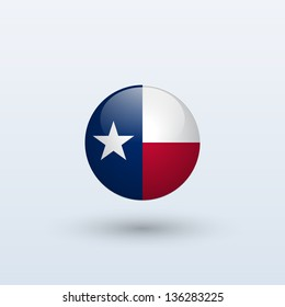 State of Texas flag circle form on gray background. Vector illustration.