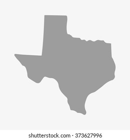 State  of Texas map in gray on a white background