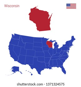 The State of Wisconsin is Highlighted in Red. Blue Vector Map of the United States Divided into Separate States. Map of the USA Split into Individual States.