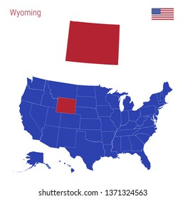 The State of Wyoming is Highlighted in Red. Blue Vector Map of the United States Divided into Separate States. Map of the USA Split into Individual States.