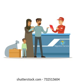 Stateless refugee family in the migration service, social assistance for refugees vector Illustration