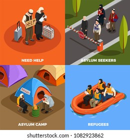 Stateless refugees asylum icons isometric 2x2 design concept with human characters of displaced persons and text vector illustration