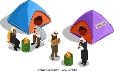 Stateless refugees asylum icons isometric composition with images of tents and group of displaced person characters vector illustration