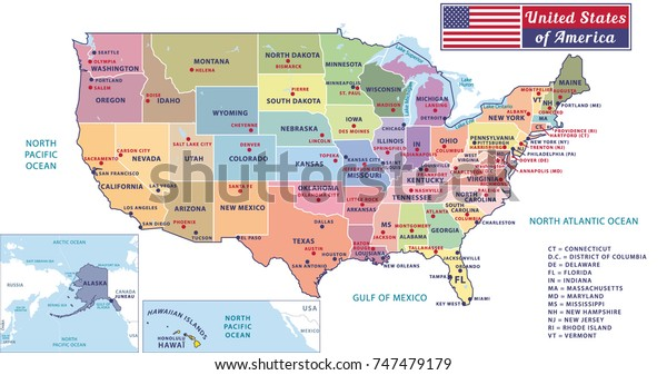 States Capitals Major Cities United States Stock Vector ...
