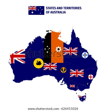 States And Territories Of Australia Map.States Territories Australia Stock Vector Royalty Free 626415026