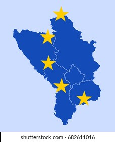 States of western Balkan as members of European Union. Bosnia, Serbia, Macedonia, Montenegro and Albania in the colors of EU as metaphor of accession, joining and membership