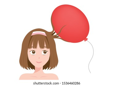 Static Electricity of human hair with balloon vector