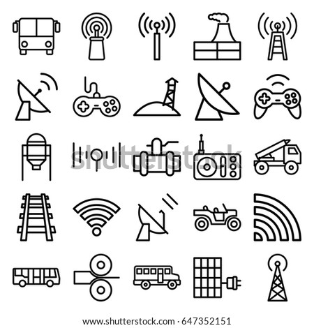 Station Icons Set Set 25 Station Stock Vector (Royalty Free