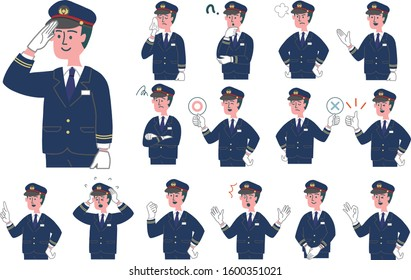 Station staff conductor emotion illustration