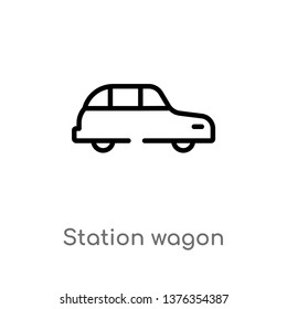 station wagon vector line icon. Simple element illustration. station wagon outline icon from transport concept. Can be used for web and mobile